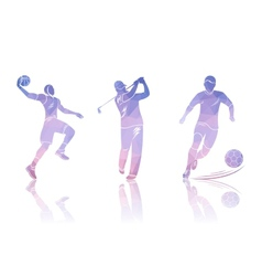 Set shapes golfers football and basketball vector