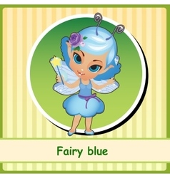 Fairy in blue dress - hand-drawn vector