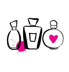 Set of bottles perfume vector image
