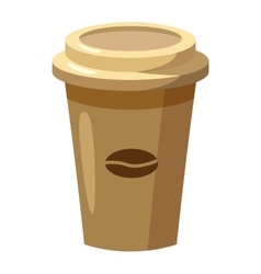 Disposable coffee cup icon cartoon style vector