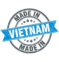 Made in vietnam blue round vintage stamp vector