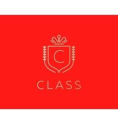 Elegant monogram letter c logotype premium crest vector