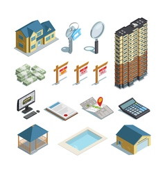 Real estate isometric icons collection vector