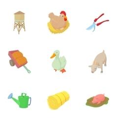 Animal farm icons set cartoon style vector image vector image