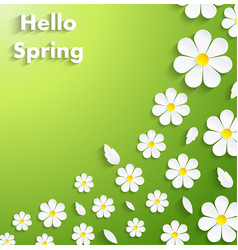 Beautiful spring flowers green background vector