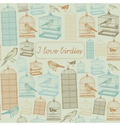 Birds and cages Seamless pattern vector image vector image