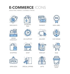 Blue Line E-Commerce Icons vector image vector image