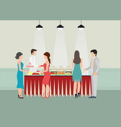Buffet dinner dining food celebration party vector