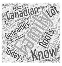 Canadian genealogy word cloud concept vector
