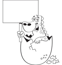 Cartoon dinosaur hatching from an egg and holding vector image