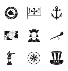 Columbus day icons set simple style vector