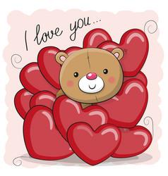 cute teddy bear in hearts vector image