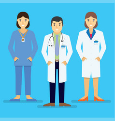 doctors and other hospital staff stand together vector image
