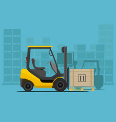 forklift in warehouse vector image vector image