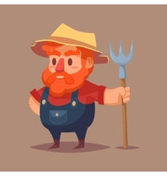 Funny cartoon farmer character clip art vector image vector image