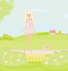 Girl and her puppy on rural landscape vector image vector image