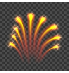 Gold firework rockets icon realistic style vector