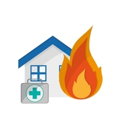 House and first aid kit icon vector