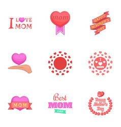 I love mom icons set cartoon style vector