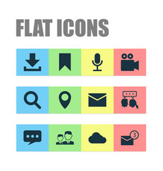Internet icons set collection of magnifier inbox vector