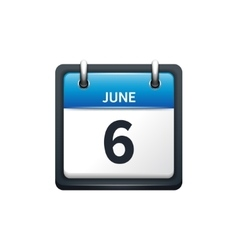 June 6 calendar icon flat vector
