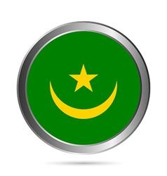 Mauritania flag button vector image