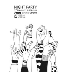 monochrome flyer template for night party with vector image vector image
