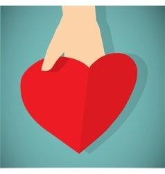 Red paper heart in hand flat icon vector image