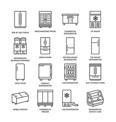 Refrigerators flat line icons fridge types vector
