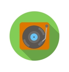 Retro record player flat icon vector
