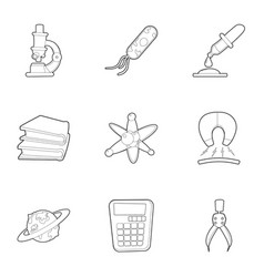 science icons set outline style vector image