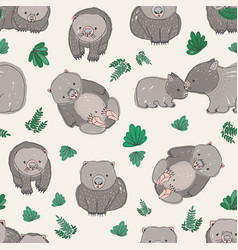 Seamless pattern with cute hand drawn wombats and vector