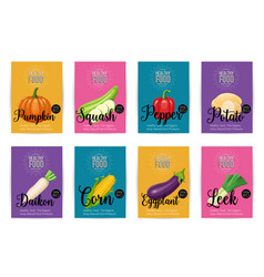 Set of banners with vegetables vector