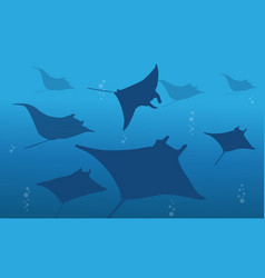 Silhouette of stingray on ocean landscape vector