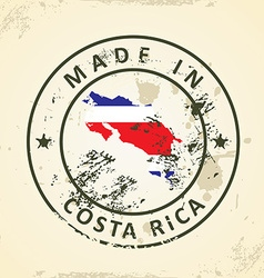 Stamp with map flag of Costa Rica vector image vector image