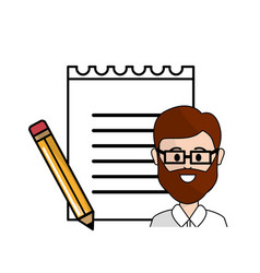 Teacher with glasses notebook papper and pencils vector