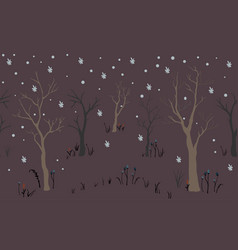 Trees first snow winter christmas landscape vector