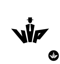 Vip letters black logo silhouette of a gentleman vector