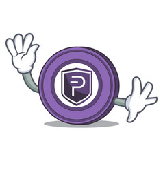 waving pivx coin character cartoon vector image vector image