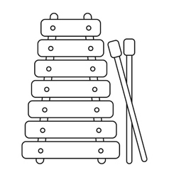 Xylophone toy icon outline style vector image