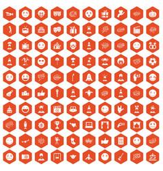 100 emotion icons hexagon orange vector