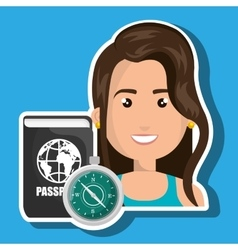 Woman password id travel vector