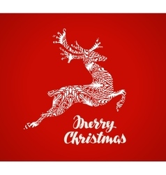 Merry christmas greeting card prancing reindeer vector
