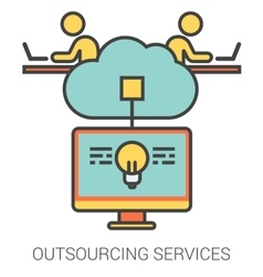 Outsourcing services line icons vector