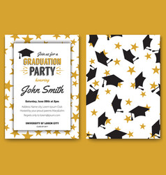 Graduation party template invitation vector
