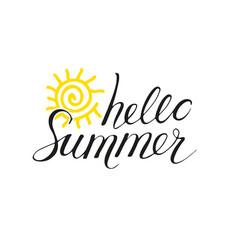 Hello summer phrase vector