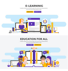 Flat design concept banners -e learning and vector