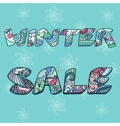 Winter sale words with hand drawn elements vector