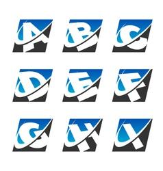 Swoosh Sport Alphabet Logo Icons Set 1 vector image