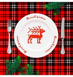 Table setting for christmas dinner vector